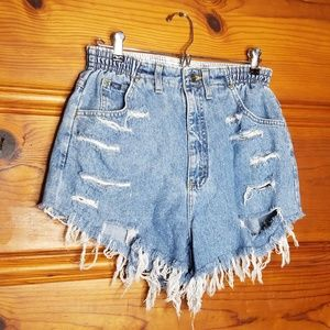 Vintage Lee Distressed Mom Elastic Denim Shorts 28